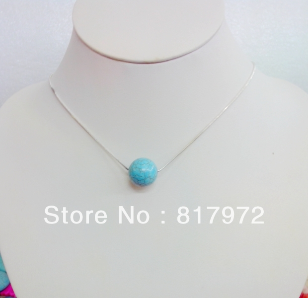 12mm 14mm 16mm 18mm 20mm Light Blue stone Round Ball Bead Choker Silver Plated Necklace gift