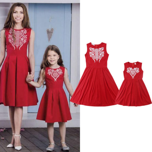 hot sale los angeles newest New Xmas Red Dress Family Matching Sleeveless Dress Clothes Women Girl  Mother Daughter Christmas Party Dresses Outfit Set