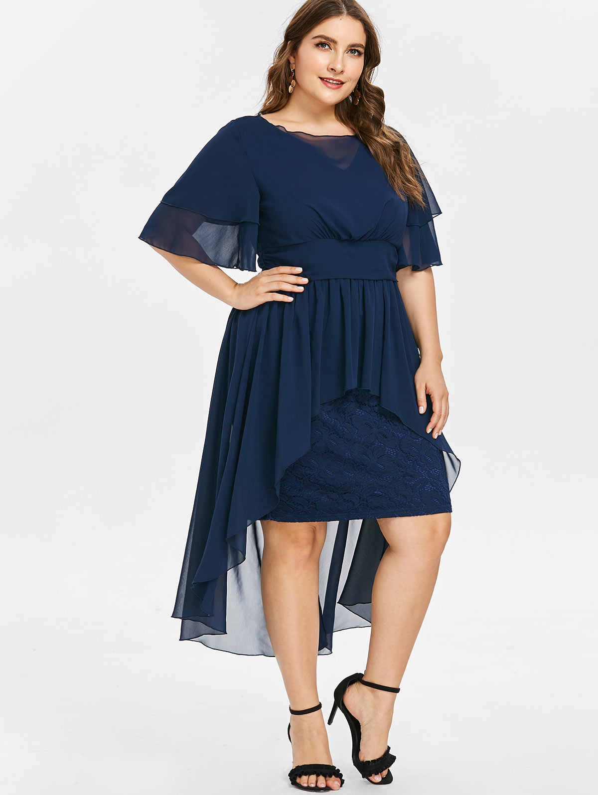 Wipalo Plus Size 5XL High Waist Lace Panel High Low Dress Elegant Ladies  Half Sleeves Mid-Calf Length Party Dress Vestidos
