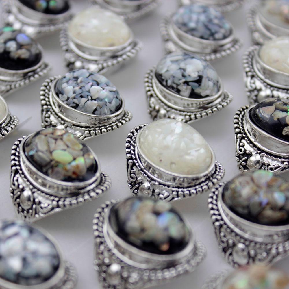 12 pcs Luxury Trendy Shells Ring Dazzle Beautiful Accessories ...