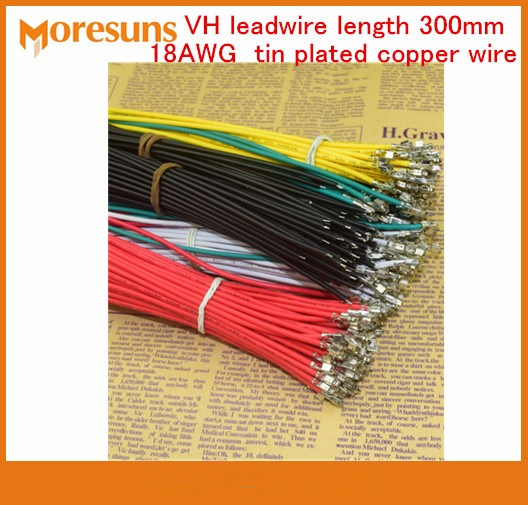 Fast Free Ship 50pcs/lot VH Leadwire Length 300mm 18AWG Tin Plated Copper Wire VH Terminal Wire Custom Cable Wire