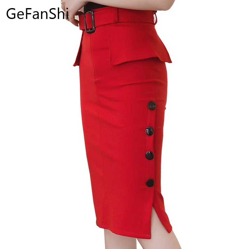 Fashion New Autumn Winter High Waist Midi Skirt Red Black Bodycon Pencil Skirts Buttons Open Slit Elegant Womens Skirts