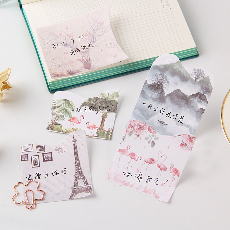 Creative retro style fashionable and exquisite convenience sticker special shaped multi layer message note N times post memo pad in Memo Pads from Office School Supplies