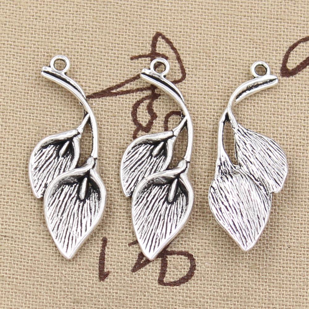 5 pçs encantos folha ramo 40x14mm antigo fazer pingente apto, vintage tibetano bronze prata cor, diy artesanal jóias