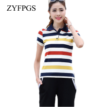 ZYFPGS 2019 Summer Casual Women Horse Shirts Striped Slim Short Sleeve Polos Mujer Shirt Cotton Femme Plus Size 5XL Autumn L0521