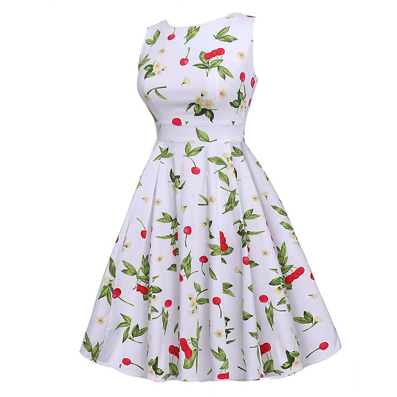 Kostlish Cotton Summer Dress Women 2017 Sleeveless Tunic 50s Vintage Dress Belt Elegant Print Rockabilly Party Dresses Sundress (40)