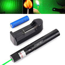 Military 532nm 5mw 303 Green Laser Pointer Lazer Pen Burning Beam +18650 Battery Burning Match+Charger