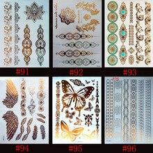 6 Designs/set Metallic Gold Silver Body Art Temporary Tattoo Sexy Non-Toxic Flash Tattoos Sticker For Women