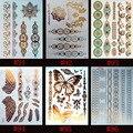 6 конструкций/комплект Новый Металлик Золотой Серебряный Боди-Арт Временные Татуировки Sexy Нетоксическо Вспышка Татуировки Наклейки Для женщины