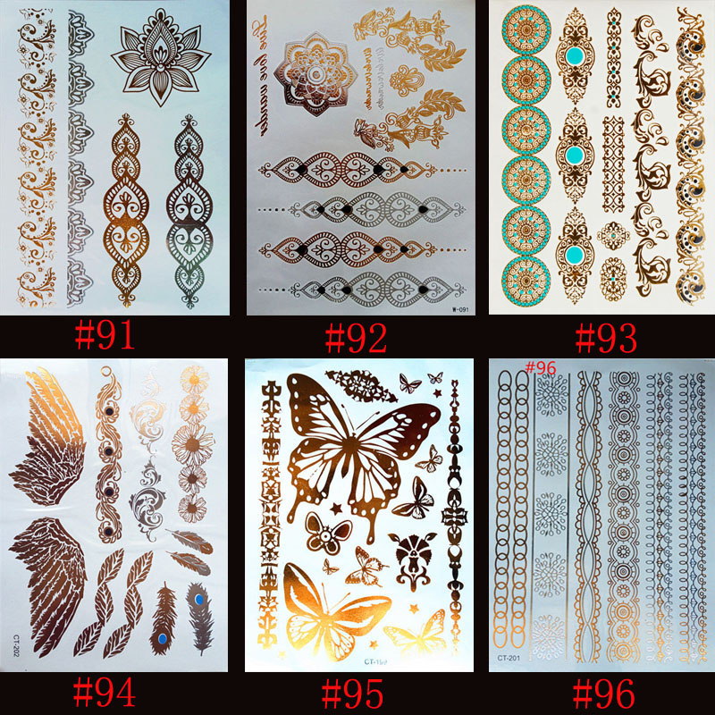 6 designs/set New Metallic Gold Silver Body Art Temporary Tattoo Sexy Non-Toxic Flash Tattoos Sticker For Women