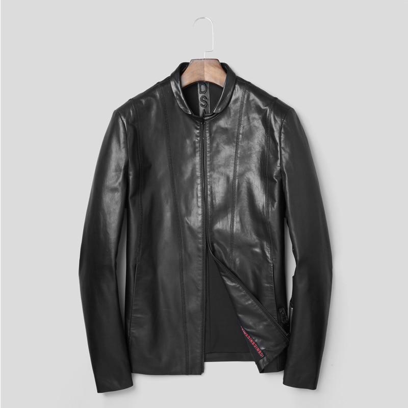 2018 New Fashion Genuine Leather Jacket Short Goat Sheep Young Male Jacket Simple Real Leather Jacket Genuine Leather Coat
