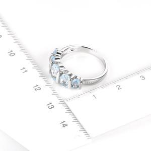 Image 3 - Hutang Silber Ring 925 Schmuck, Edelstein 1.9ct Aquamarin Feine Ringe mit steinen für Frauen, Verlobung, Hochzeit Braut Ring