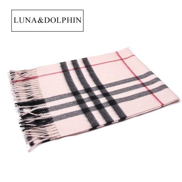 Luna&Dolphin Luxury Classic Beige Plaid 100% Cashmere Scarf Woman Winter Scarf Men Big Shawls Scarves Elegant High Quality