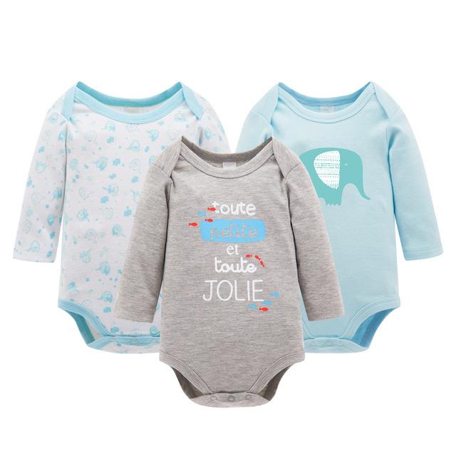 3 pçs/lote bodysuits do bebê algodão moda manga comprida impresso recém-nascidos bodysuits do bebê meninas primavera outono macacões infantil clothing