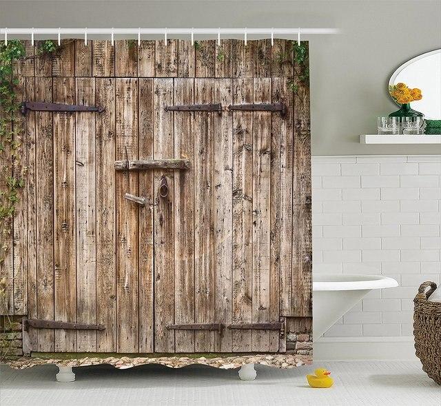 Rustic Shower Curtain Old Oak Closed Garage Door With Steel Hinges Vintage  Typical Cottage Doorway Image