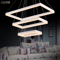 Modern LED Rectangle Chandelier New Arrival LED Acrylic Suspension Lighting White LED Hanging Lustre for Living Room Bedroom