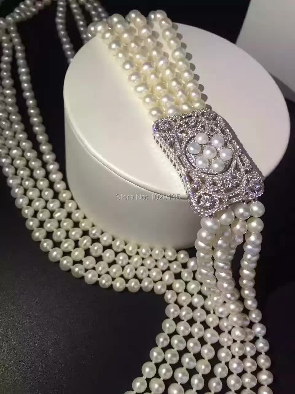 wow 4rows freshwater pearl white near round necklace 7 8mm 45 65inch