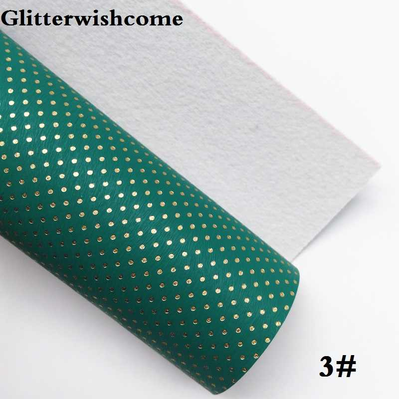 Glitterwishcome 21X29 CM A4 Kích Thước Da Tổng Hợp, Dập Nổi các Chấm Vàng, faux PU Da vải Vinyl cho Cung, GM071A