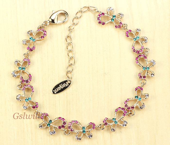 Free Shipping Fashion Austrian Crystal Butterfly Bracelet Wholesale Jewelry Girlfriend Birthday Gift