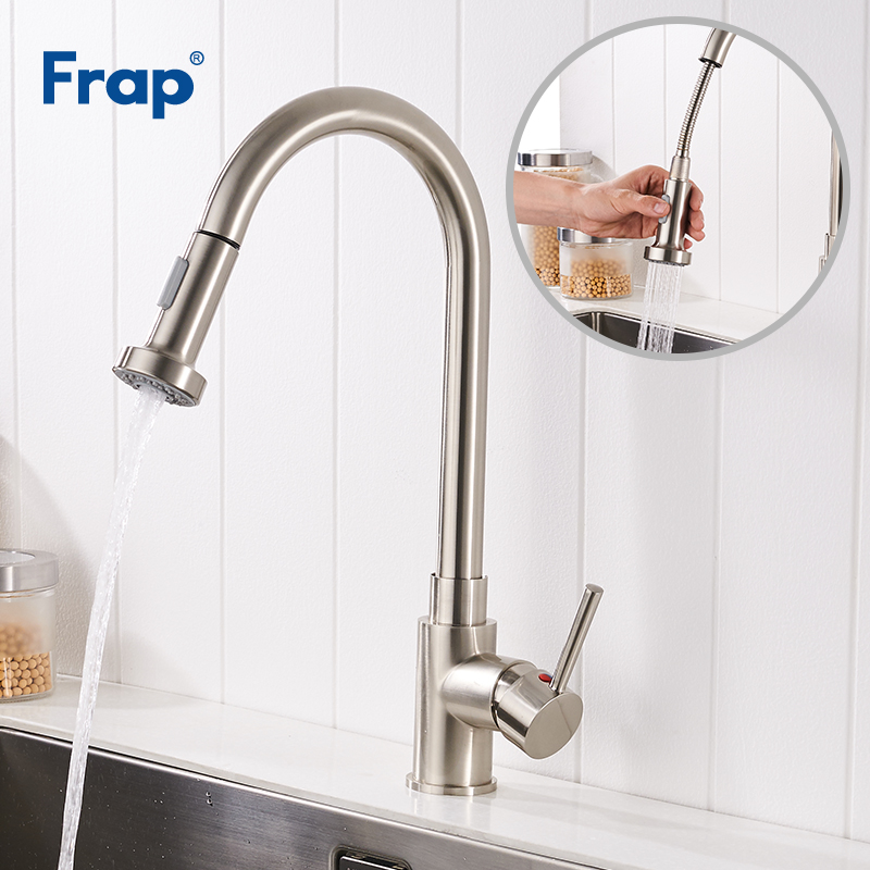 Frap Single Handle Kitchen Faucet Mixer Pull Out Tap Single Hole 360 Rotate Nickel Swivel Sink Mixer Tap Torneira Cozinha Y40050 best sale copper chrome kitchen faucet pull out single handle kitchen tap 360 swivel sink mixer tap torneira de cozinha