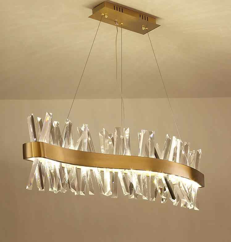 Nordic crystal chandelier rectangular restaurant light S-shaped luxury bar decoration lamp