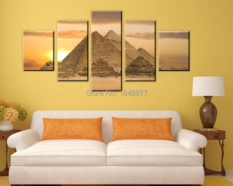 5 piece The most mysterious tomb Egyptian pyramids canvas wall art ...