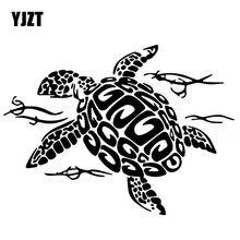 YJZT 17.1 CENTÍMETROS * 12.6CM Tartaruga Natação Originalidade Vinyl Decal Decorar Porta Acessórios Do Carro Adesivos de Carro Preto/Prata c4-1295