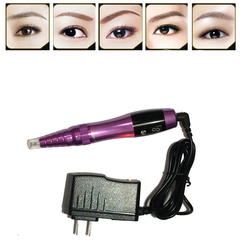 Electric Permanent Makeup Machine Rechargeable Microblading Eyebrow Tattoo Pen with Power Supply Makeup Cosmetics for Lip Eye