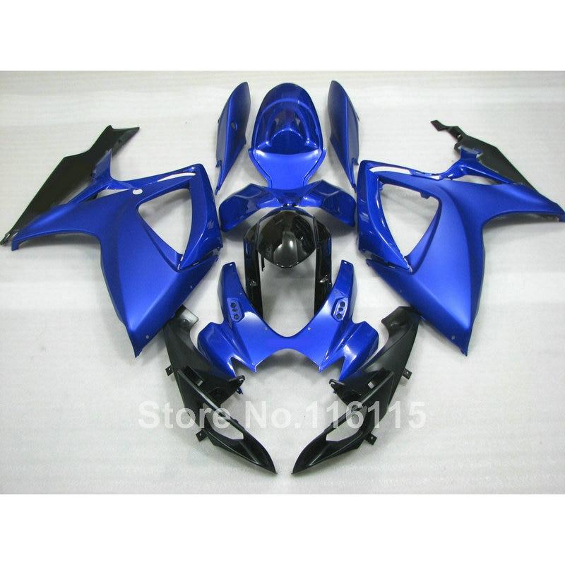 Инъекции плесень обтекатель комплект, пригодный для Suzuki GSXR 600 750 К6 К7 2006 2007 синий черный GSXR600 GSXR750 06 07 обтекатели комплект Q527