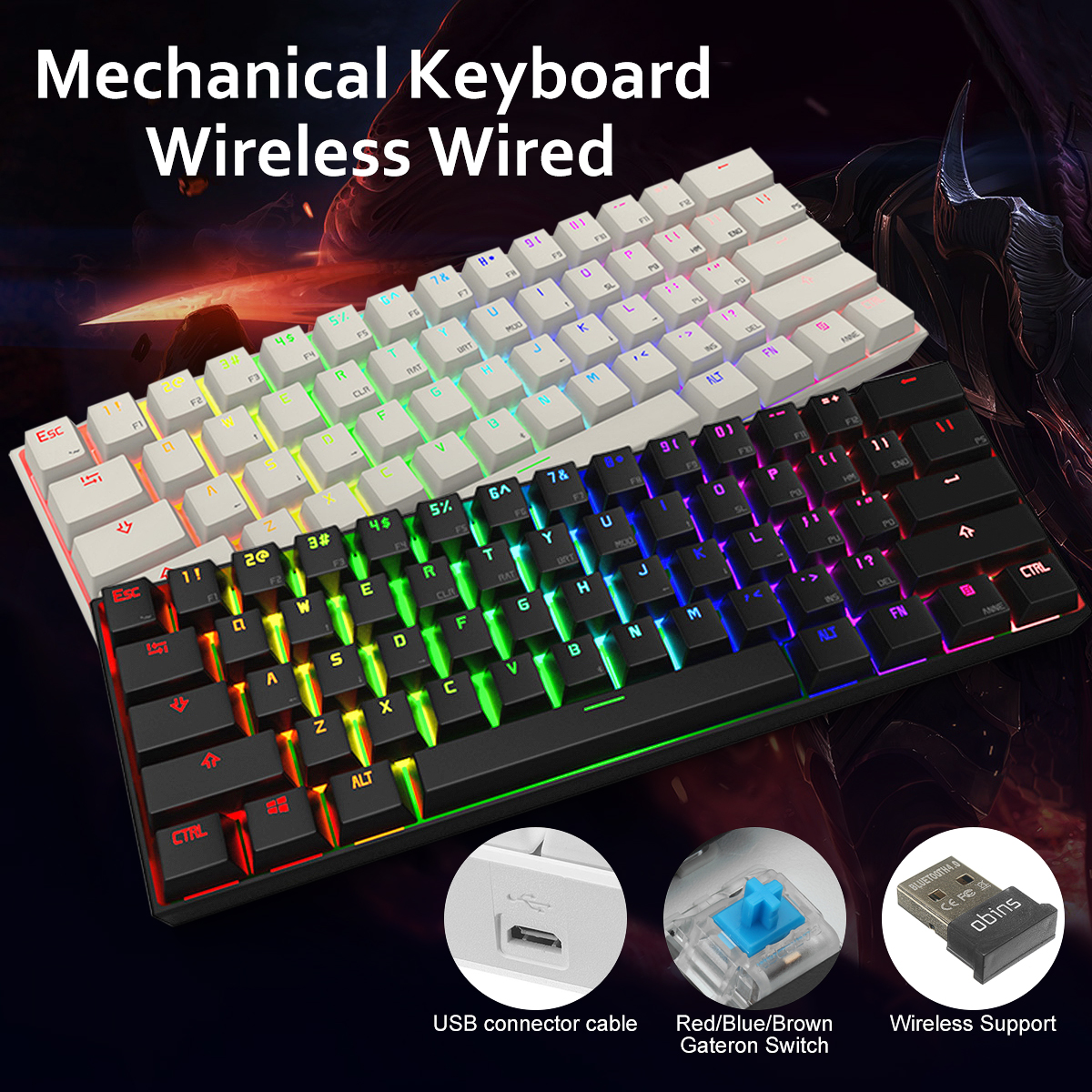Anne PRO Blue Switch RGB Wireless Bluetooth Mechanical Gaming Gamer Keyboard 87 Keys Computer Gaming Keyboard for PC Lap Ipad ...