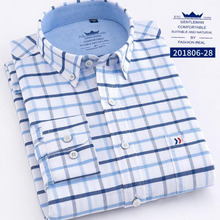 Enngland Men Long Sleeve Single Breasted Turn-down Collar Shirts Camisa,Oxford Cotton Breathable Plaid Prited Shirts Chemise men long sleeve solid color pure cotton oxford shirts vestido high quality single breasted turn down collar shirts cloth spring