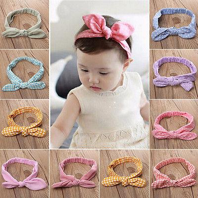 Cute Baby Kids Girls Rabbit Ear Headband Hair band Accessories Colorful Striped Polka Dot Elastic Bowknot Headwear graphic print cute ear headband