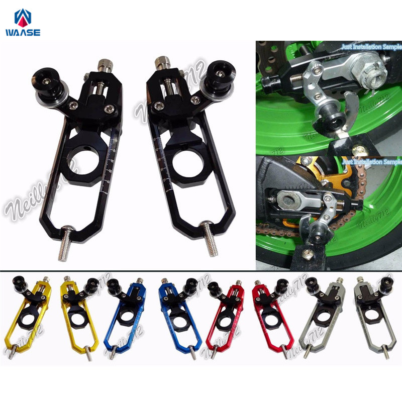 waase Motorcycle CNC Aluminum Chain Adjusters with Spool Tensioners Catena For <font><b>Suzuki</b></font> <font><b>GSXR1000</b></font> GSXR 1000 <font><b>K7</b></font> K8 2007 2008 image