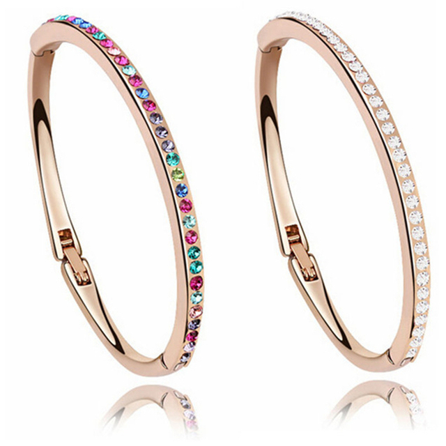Small Wrist Austrian Crystal Bangle Bracelet Children Jewelry For Girls Birthday Gifts For Kids Dressing Party Jewellery 2 Color