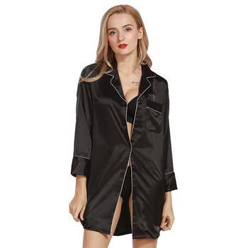 Women Nightwear Sexy Silk Nightdress Long Sleeve Shirt Blue Housewear Sleepwear Babydoll Nightdress White Black Pink Sleepwares