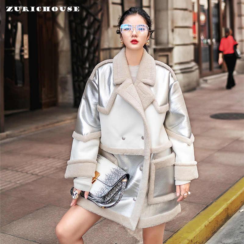 冬フェイクレザーファージャケット女性ラムウール毛皮の襟スエードコート 2019 新到着厚く暖かいレディースシルバーフリースジャケット