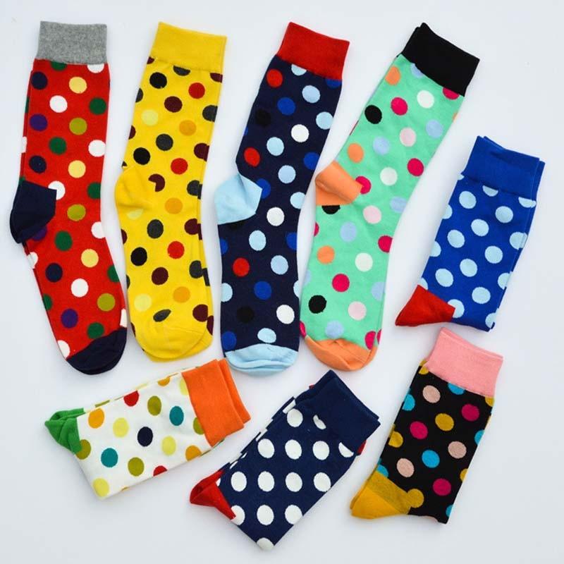 New Fashion men   socks   long hot sale Big colorful dots Unisex Daily Trendy soks men's knee high business long happy   socks   sokken