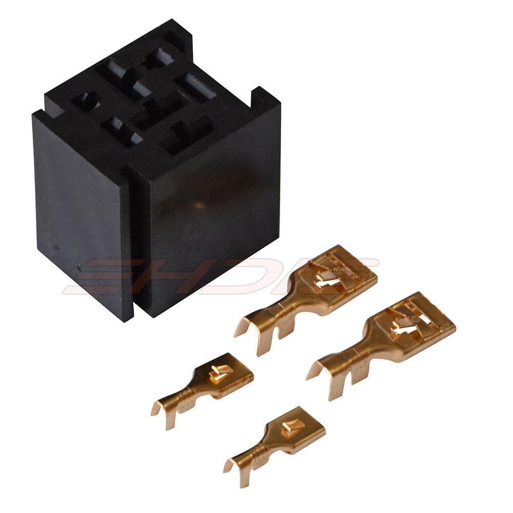 KH 5PCS Car Motor Relays 80A Relay Socket Block Holder 4 Pole