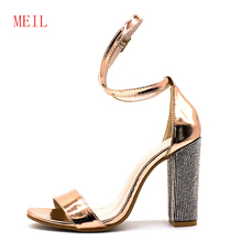 Size 34-43 Gladiator Women Sandals Rhinestone Clear Transparent High Heels Pumps Fashion Summer Party Ladies Shoes Buckle Strap