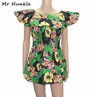 Mr Hunkle Afryki Sexy Klub Mini Sukienka Geometryczna Drukuj Wosk Lato Suknia Balowa Ruffles Imperium Dashiki Batik Sukienki Dla Kobiet