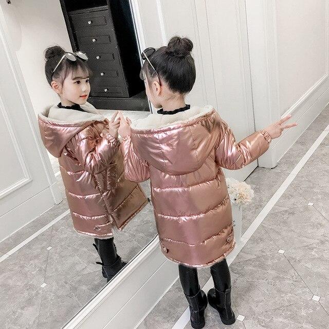 Image 3 - 2019 Girls winter jacket kids down cotton coat Waterproof snowsuit pink Gold silver jacket Hooded parka girls down coats-in Down & Parkas from Mother & Kids