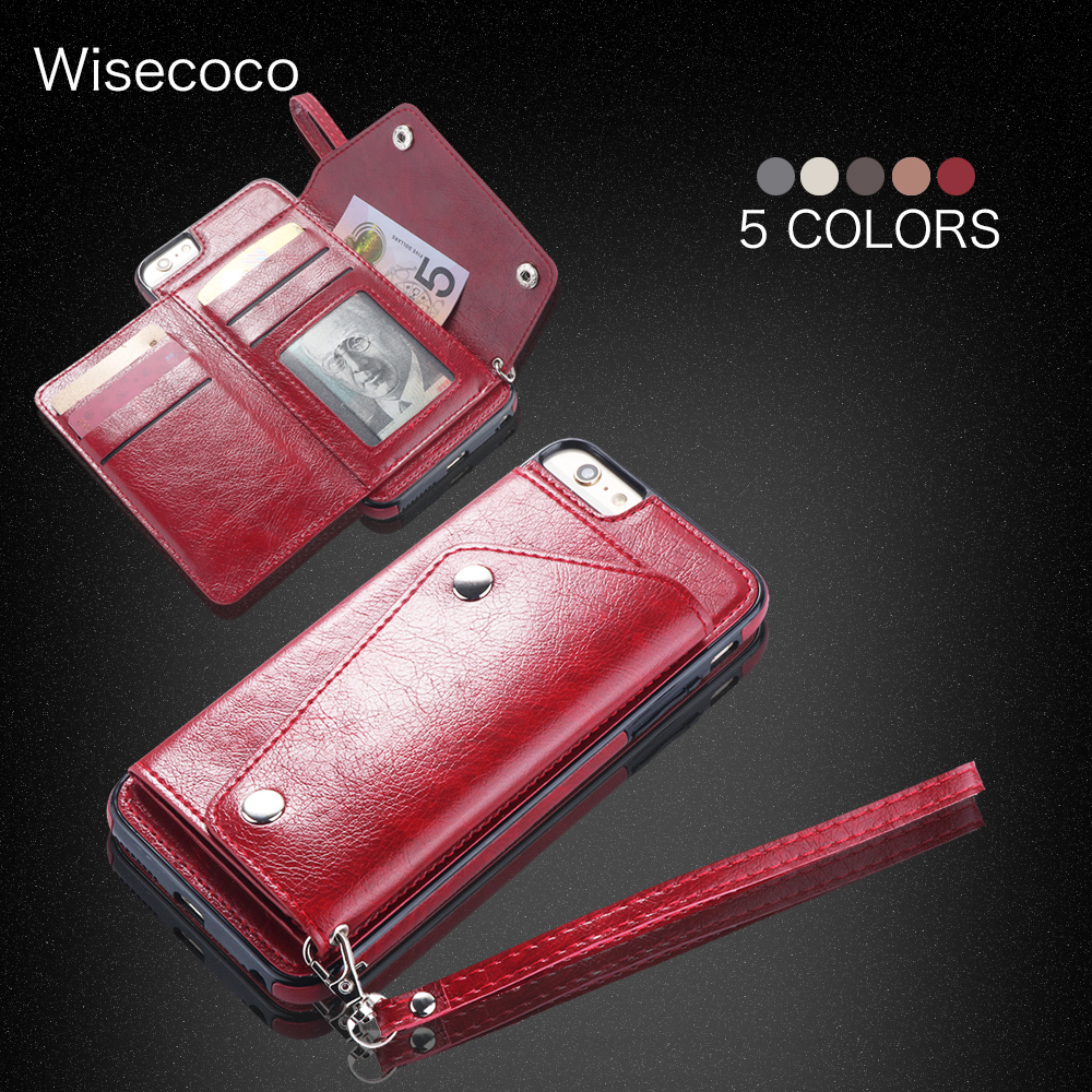 Leather Girl Case For iphone 7 8 Luxury original Women Retro Wallet Card Holder Lanyard strap Cover Phone Cases For iphone 8 7