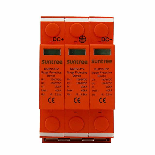 2017 NEW SSPD Surge Protector DC 1000V 20KA/3P Surge Arrester for PV System II Classified Test UP 3.8KV 10mm Stripping Length