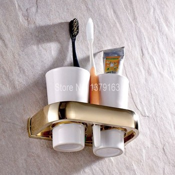 wall mounted tooth brush holder rose gold finish jade cover with double ceramic cups Bathroom Accessories Luxury Gold Color Brass Bath Wall Mounted Bathroom Toothbrush Holder Set Double Ceramic Cups aba846
