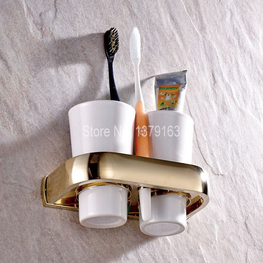 Bathroom accessories luxury gold color brass bath wall - Wall mounted ceramic bathroom accessories ...