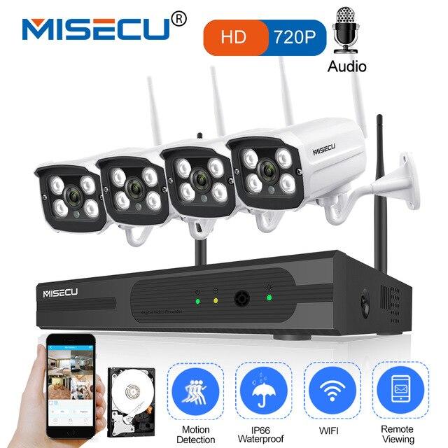 MISECU 4CH NVR Sans Fil CCTV Système 720 P HD WIFI Caméra IP Enregistrement Audio Extérieure Vision Nocturne Imperméable À L'eau P2P Sécurité accueil Kit