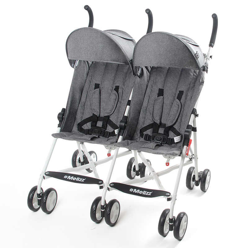 Twin Baby Stroller Payung Bernapas Dapat Berbaring Folding Portable Ringan Four Seasons Universal Double Trolley