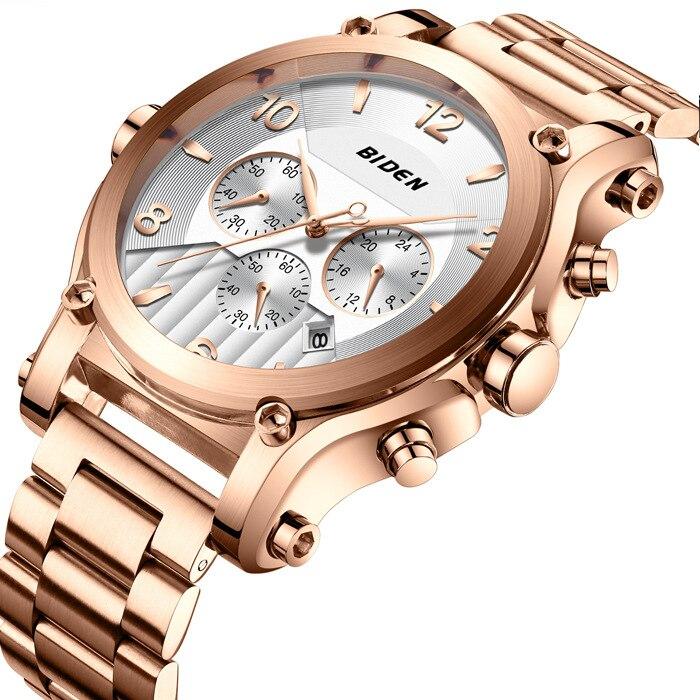 men watch man watches stainless steel quartz men's clocks Multifunction BIDEN brand mens quartz wristwatches waterproof|Quartz Watches| |  - title=
