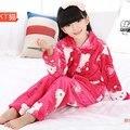 2016 Outono Roupa Interior Meninas Pijamas de Inverno Pijamas Meninas pijama Loungewear Crianças Isoladas ninos