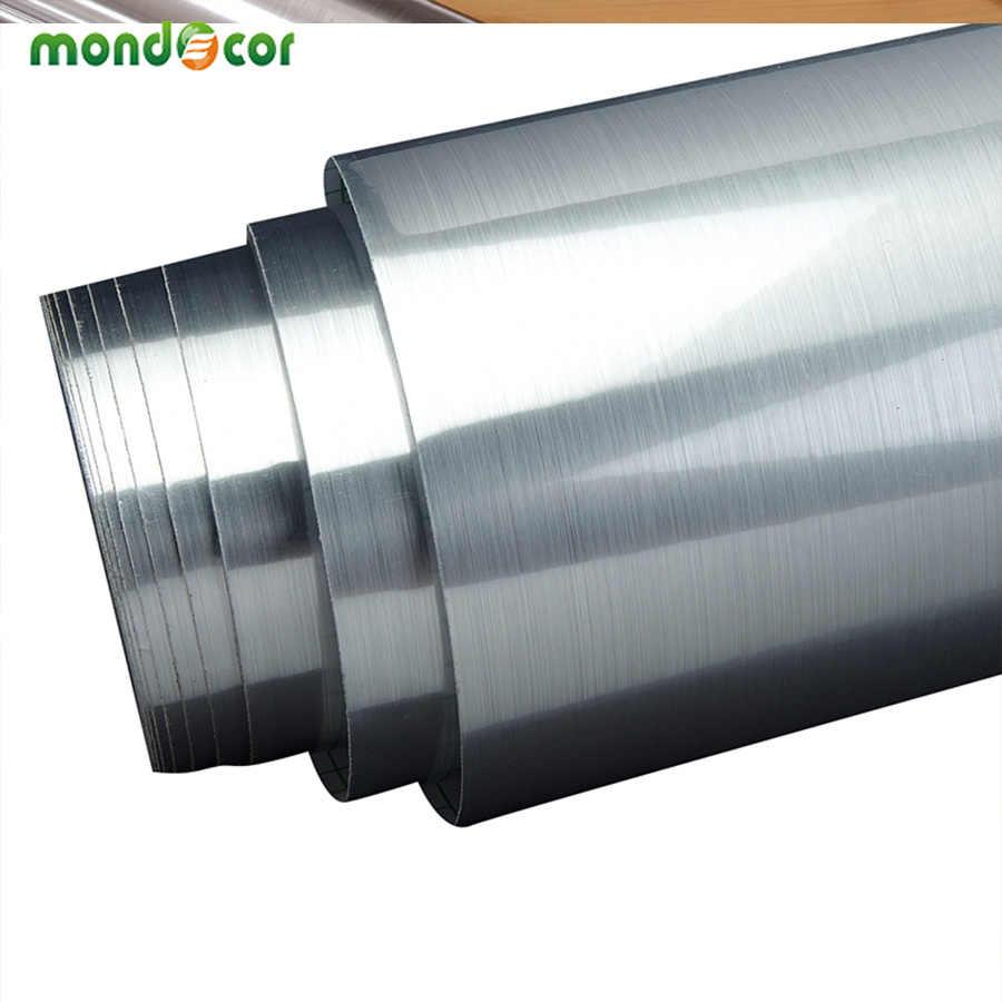3 M/5 M ויניל PVC עצמי דבק קיר מדבקה מוברש כסף מתכת מרקם קשר נייר מטבח ארון מקרר עמיד למים מדבקות
